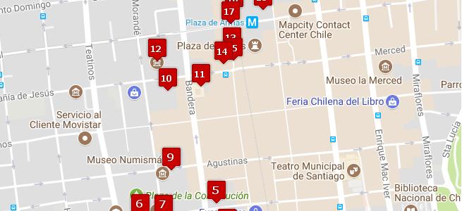 Mapa de los circuitos turísticos inclusivos
